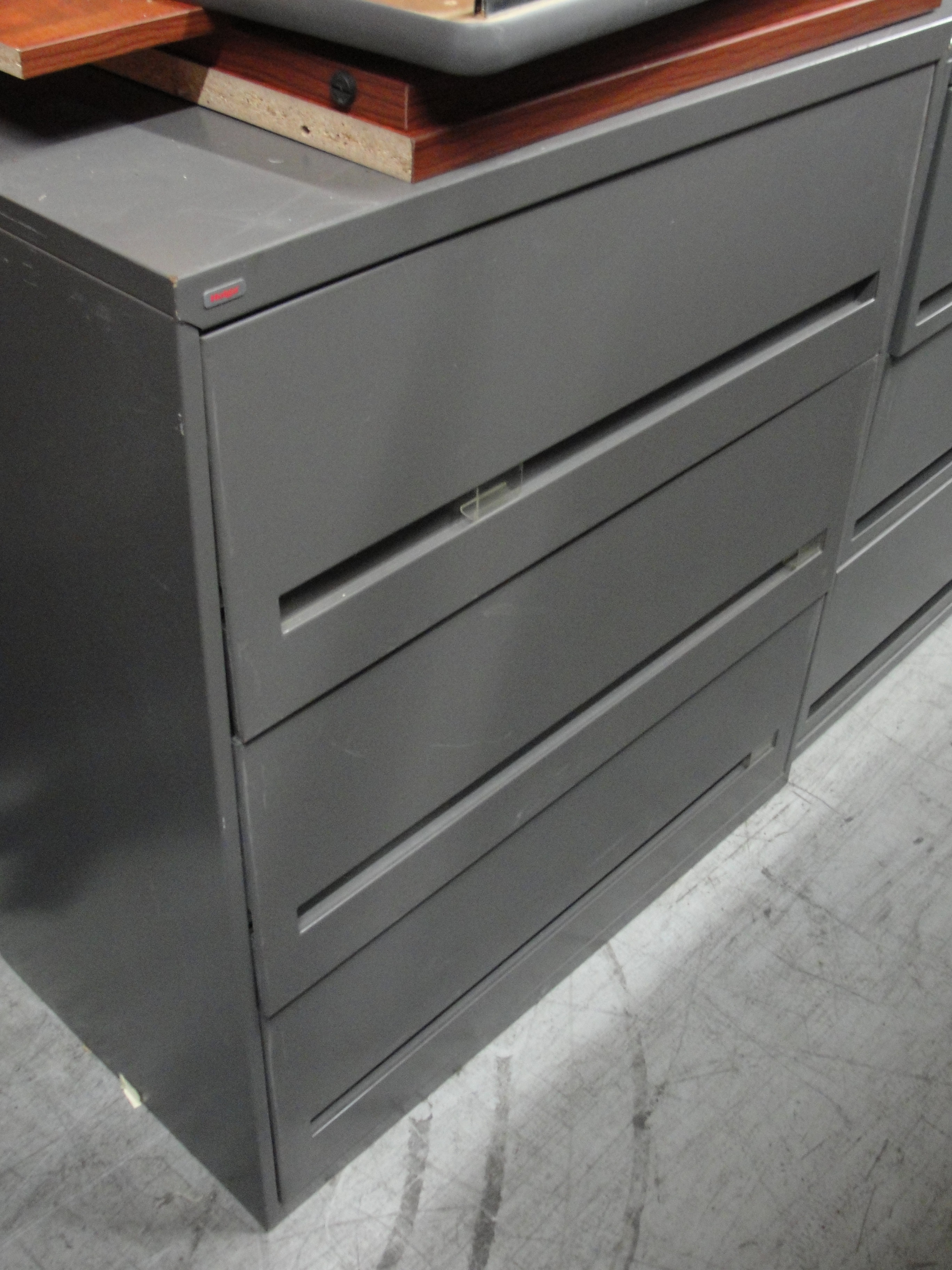 3 Drawer Charcoal Gray Lateral File Cabinet 8374 New And