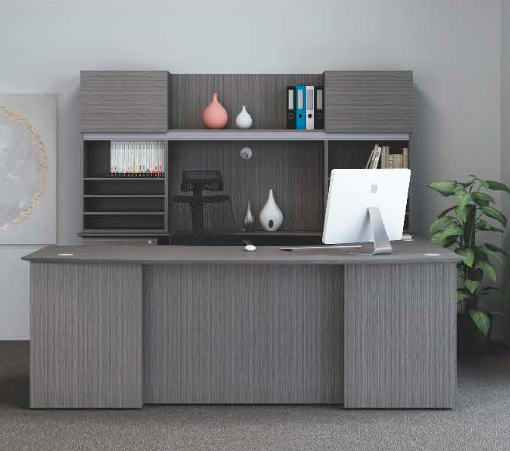 New Driftwood Series Bowfront U Shape Desk With Hutch By