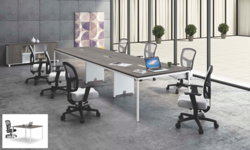 New Driftwood 12′ Rectangular Simple System Conference Table by BOSS