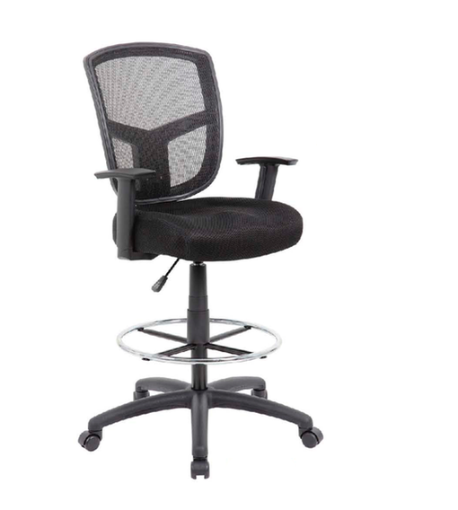 New Black Mesh Back Drafting Stool By Boss New And Used