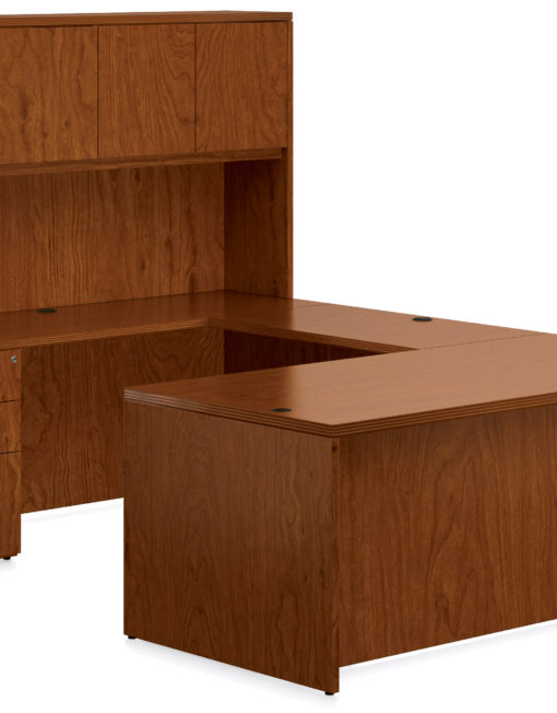 New Real Wood Veneer U Shape Desk With Hutch By Offices To