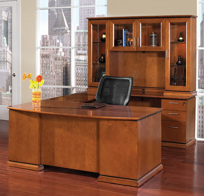 New Mendocino Series Bowfront U Shape Desk With Glass Door