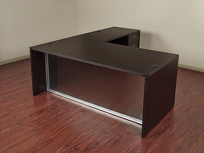 New Napa L Shape Desk With Frosted Glass Modesty Panel